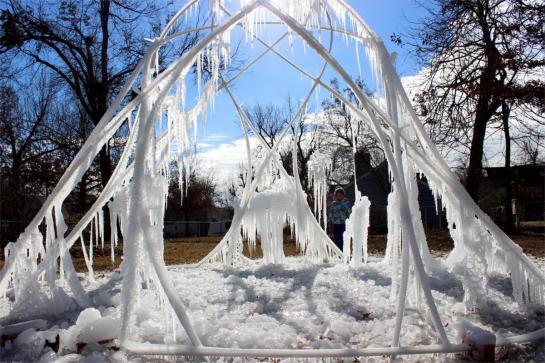 IMG_9838 Ice Parabola, Haystack Skeleton, Sculpture, PVC, Sadie, Good Shot, FB